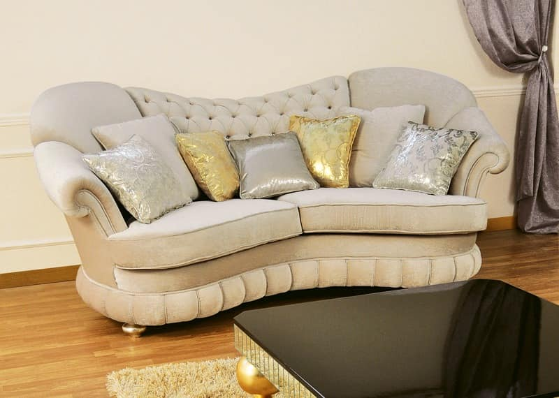 Donatello, Sofas padded, quilted backrest, classic style
