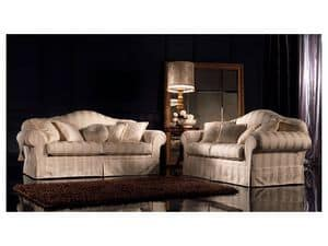 Elena, Traditional upholstered sofa, upholstered with different fabrics