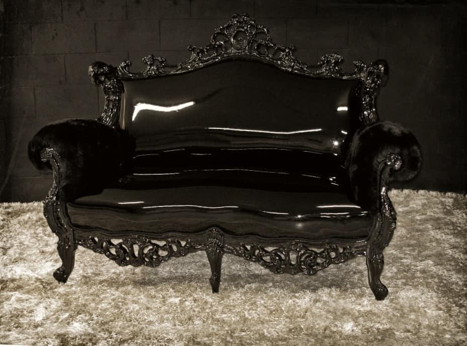 Finlandia leather 2-seater, Two-seater sofa, white finish, new Baroque style