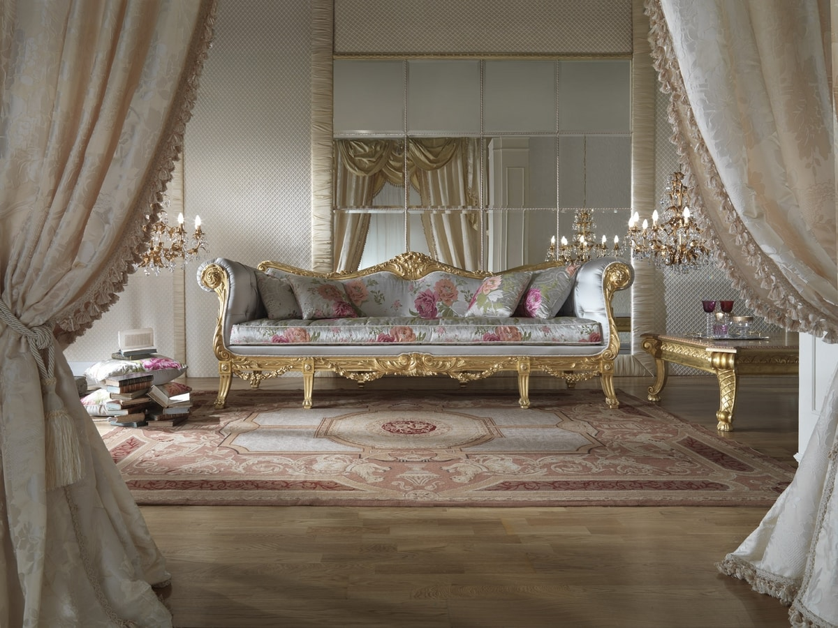 Fiore sofa, Luxurious sofa with golden finish