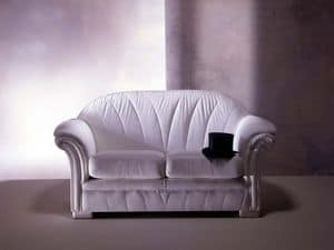 Forma Sofa, Classical sofa, in white leather, for luxury livingroom