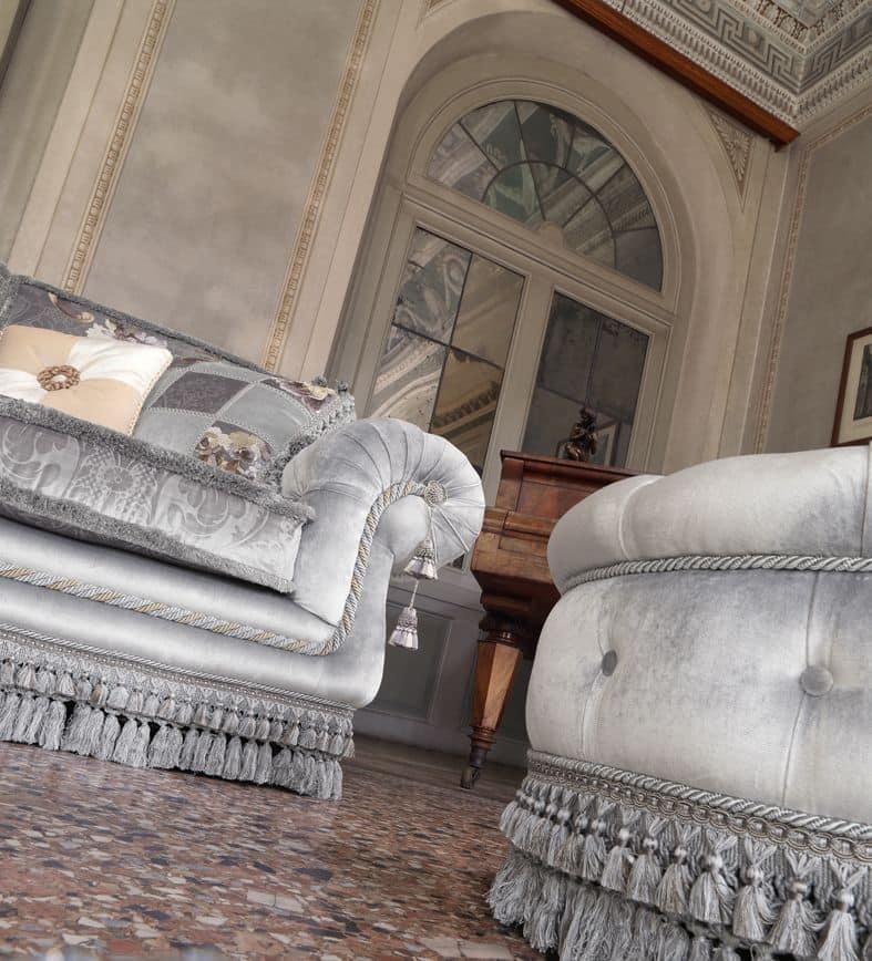 Gianna, Corner sofa upholstered in classic luxury style