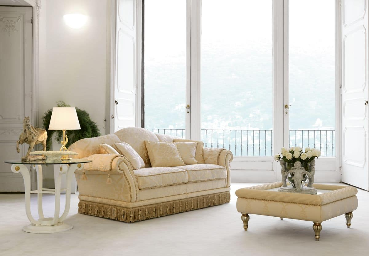 Glicine, Sofa in luxury classic style, for refined lounges