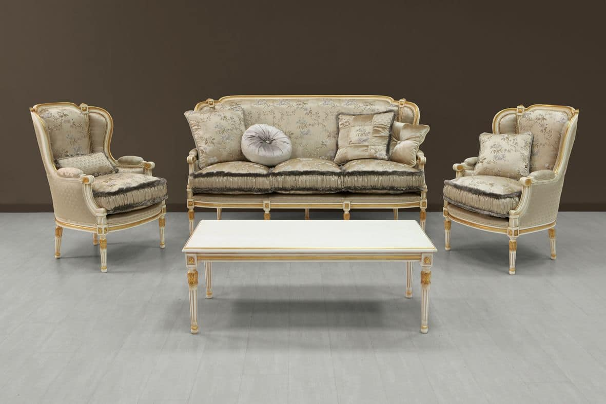 Guttuso sofa, Luxury sofa white painted with gold ornamentation