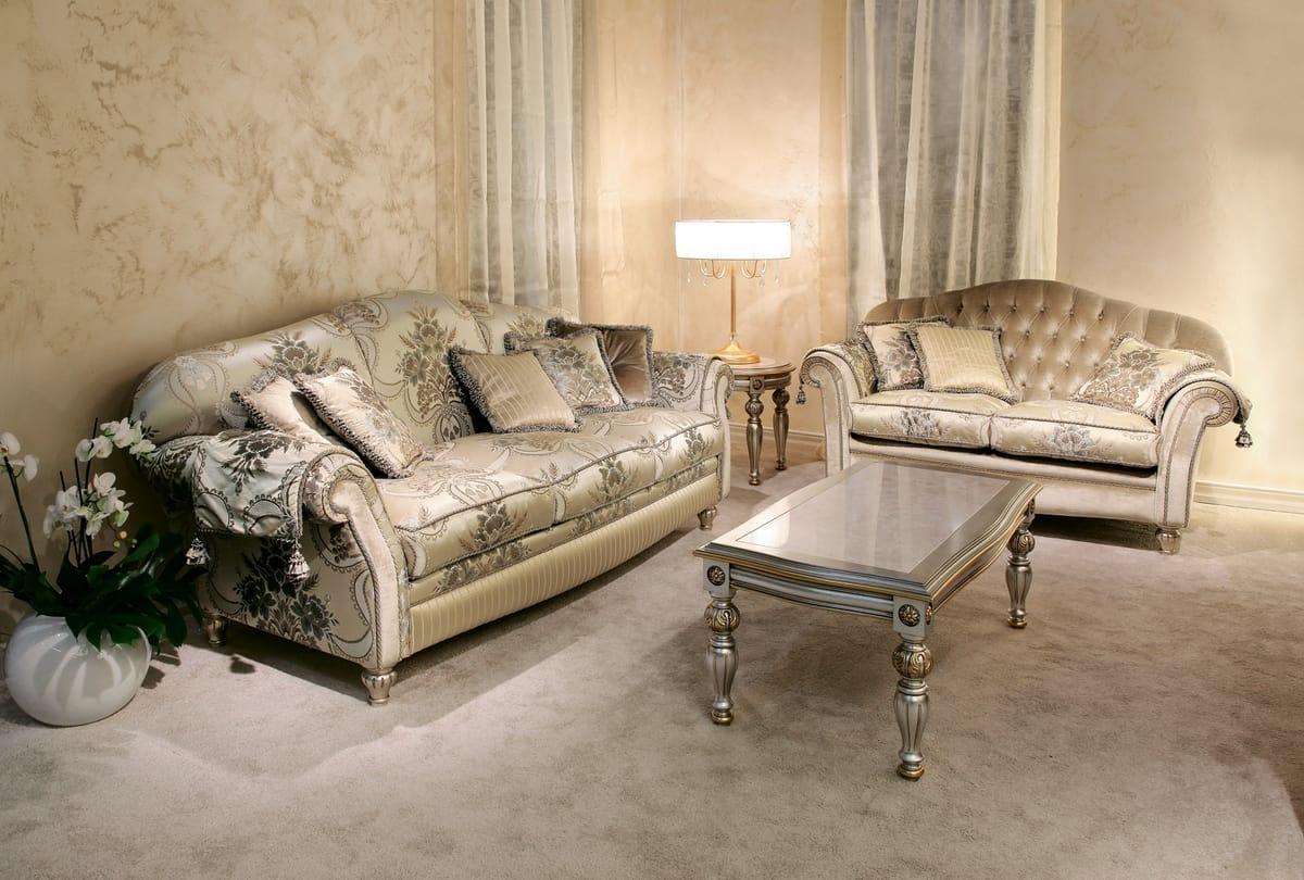 Ibisco, Classic sofa in decorated velvet