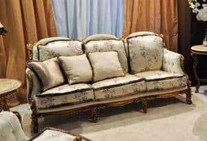 Liberty 3-seater sofa, Classic sofa hand carved, in walnut with gold