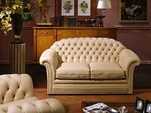 Lloyd Sofa, Sofa luxury classic, quilted padding, leather