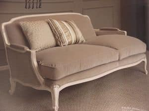 Louis, 2 seater sofa, classical, lacquered finish, for living room