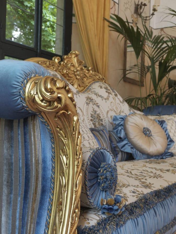 Ludovica, Luxurious sofa with precious hand-made carvings