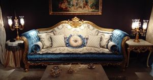 Ludovica, Luxurious sofa with precious hand-made carvings