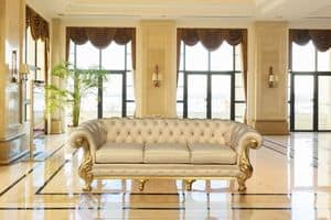 Manchester leather 3-seater, Sofa with high quality craftsmanship, hand carved
