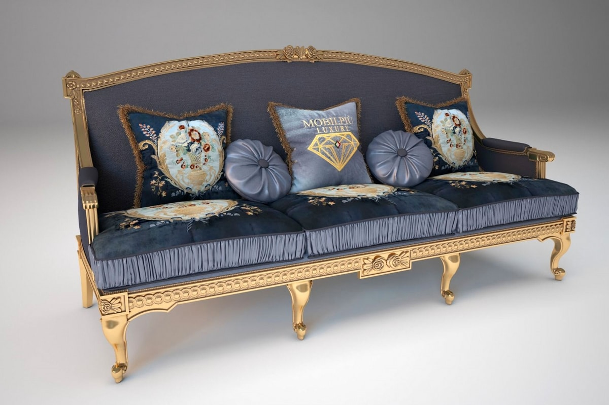 Margot sofa, Gold finish sofa, with floral carvings