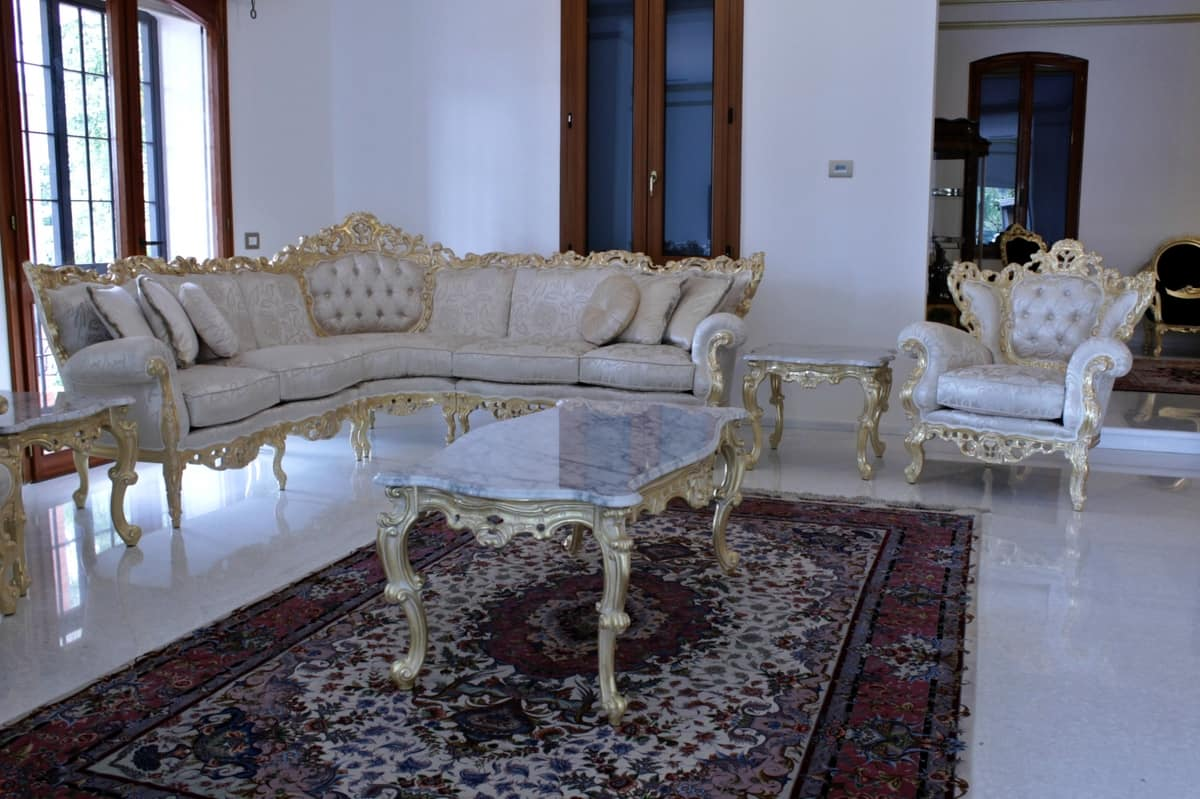 Maria fabric corner sofa, Baroque sofa suited for hotels and villas