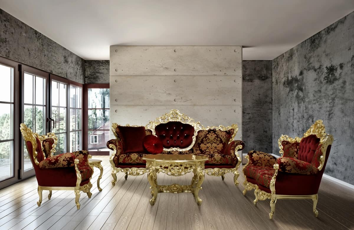 Maria fabric sitting room, Hand carved sofa upholstered with fine fabrics