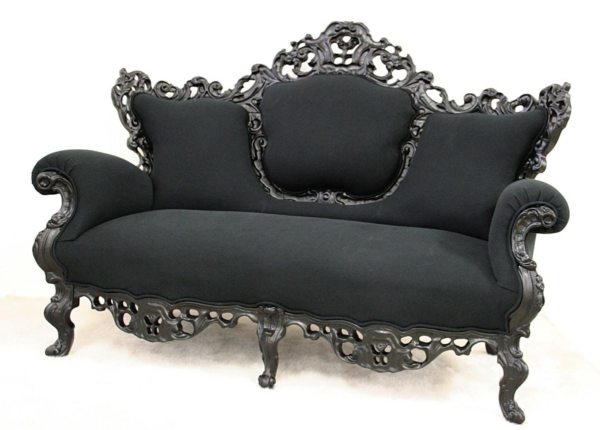 Maria fabric 2-seater, Sofa in black fabric, new baroque