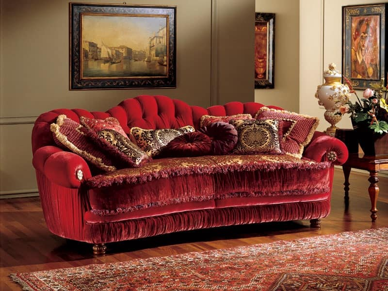 Marika sofa, Classic style sofa with quilted upholstery