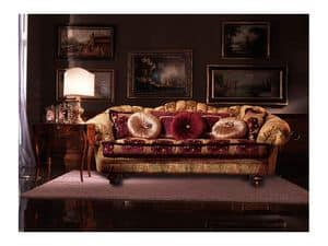 Marika, Sofa covered in fabric, handmade, classic style