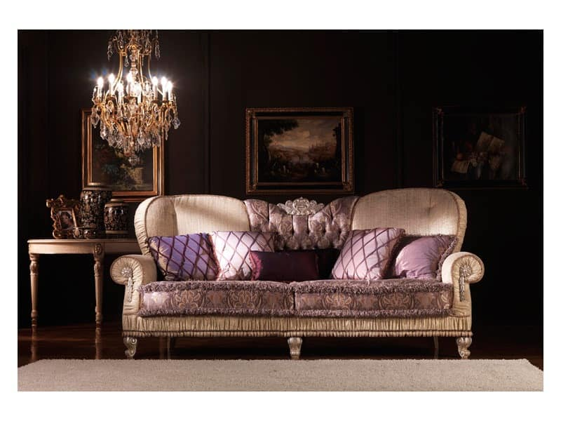 Marina, Classic sofa, padded, covered in silk, for living room