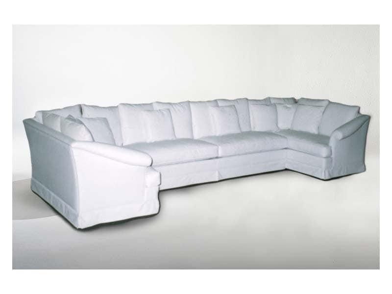 Marlene Angular Sofa, Corner sofa, classic style, in fabric