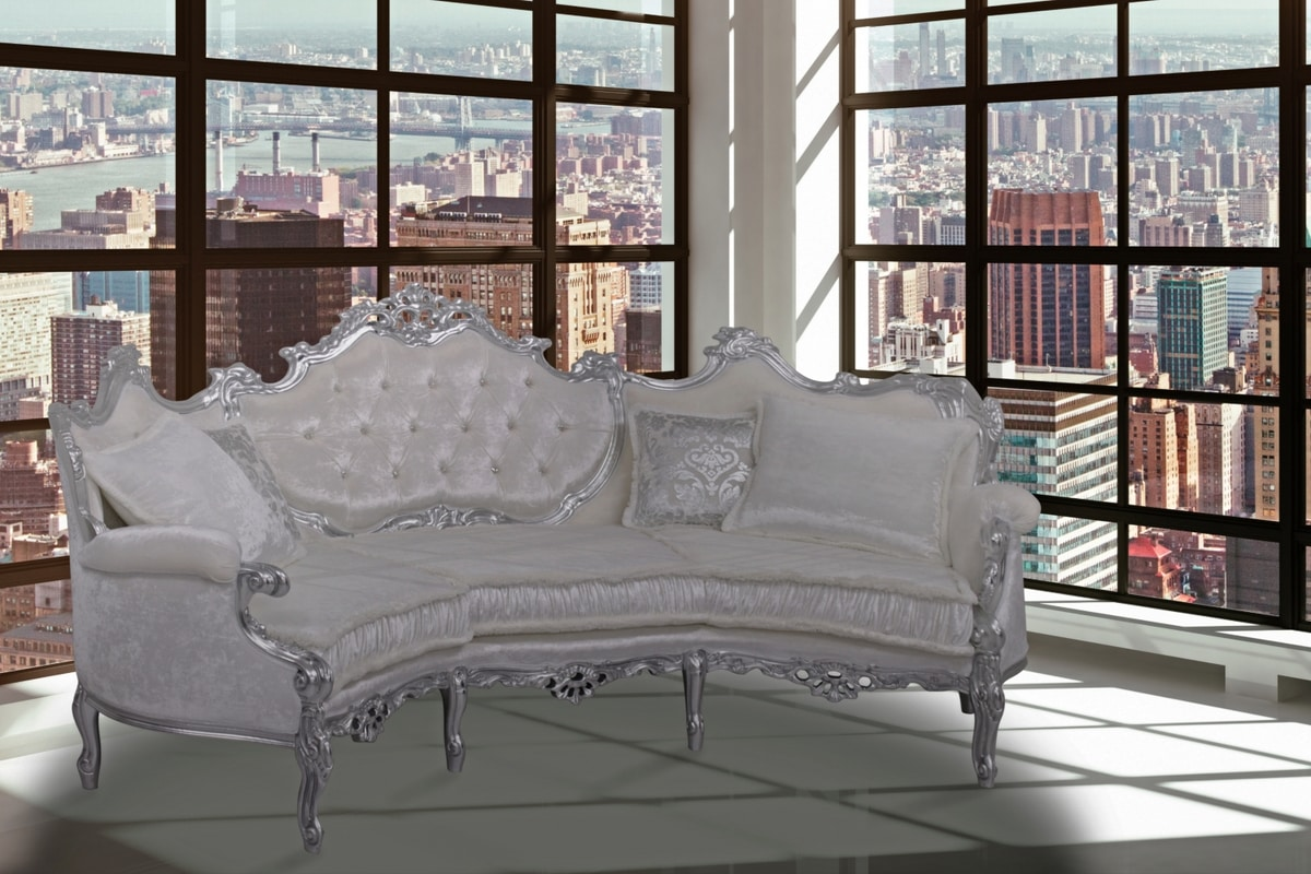 Marsiglia curved sofa, Curved sofa in Baroque-style, in carved beech
