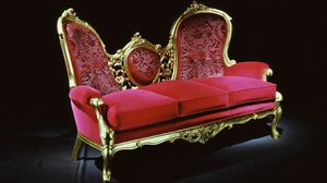 Medaglione fabric, Couch in antique gold leaf, covered in red velvet