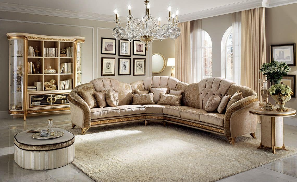 Melodia corner sofa, Corner sofa, classic style, texture of fine wood, fabric covering