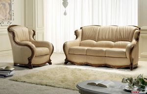 Moscow sofa, Luxury leather sofa with solid wood frame