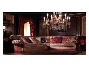 Nathalia Angular, Corner sofa, covered in silk, luxury classic style