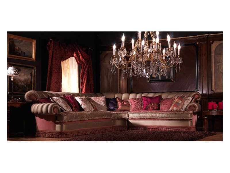Nathalia Angular, Corner sofa, covered in silk, luxury classic style