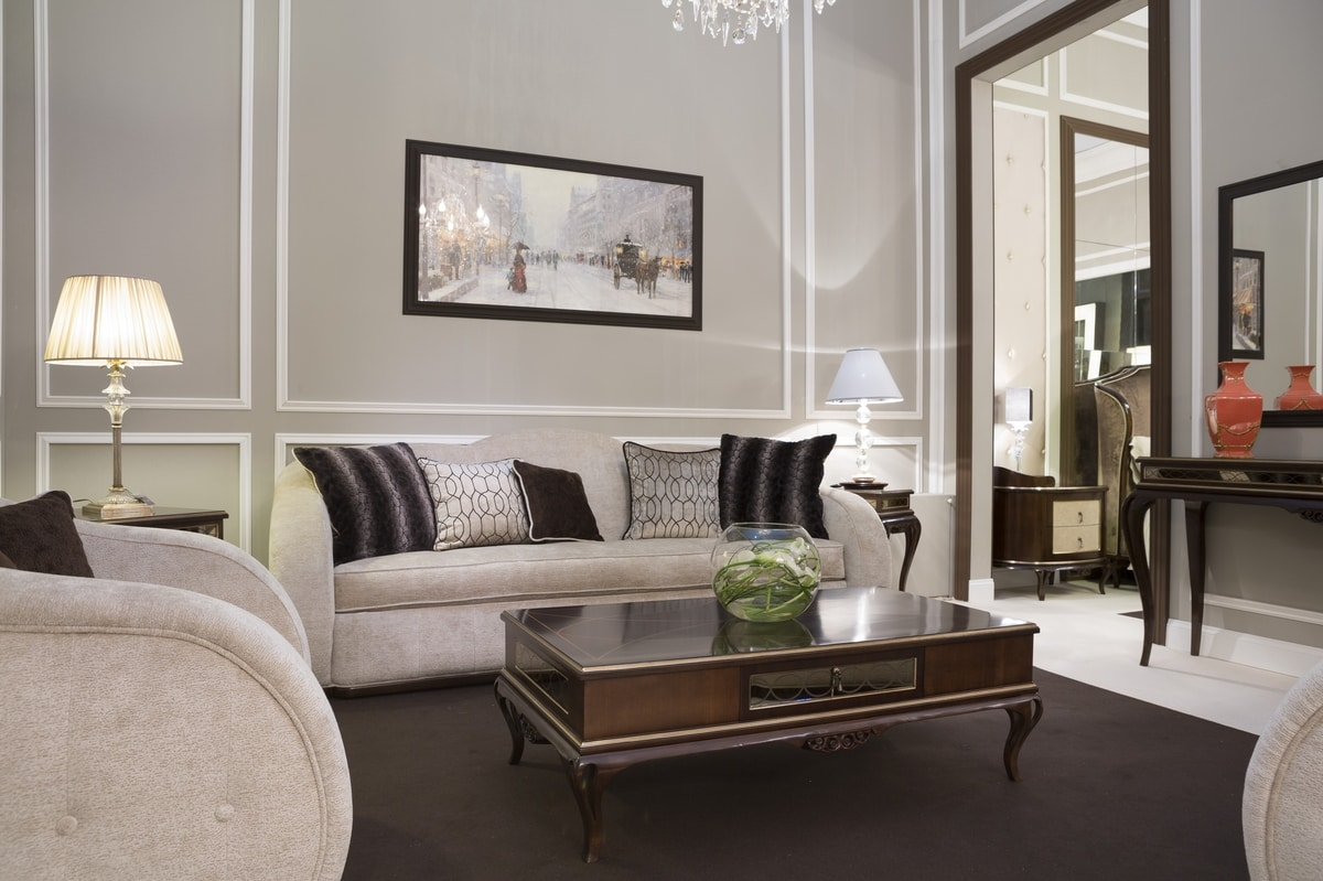New York divano, Rounded sofa, covered in fabric