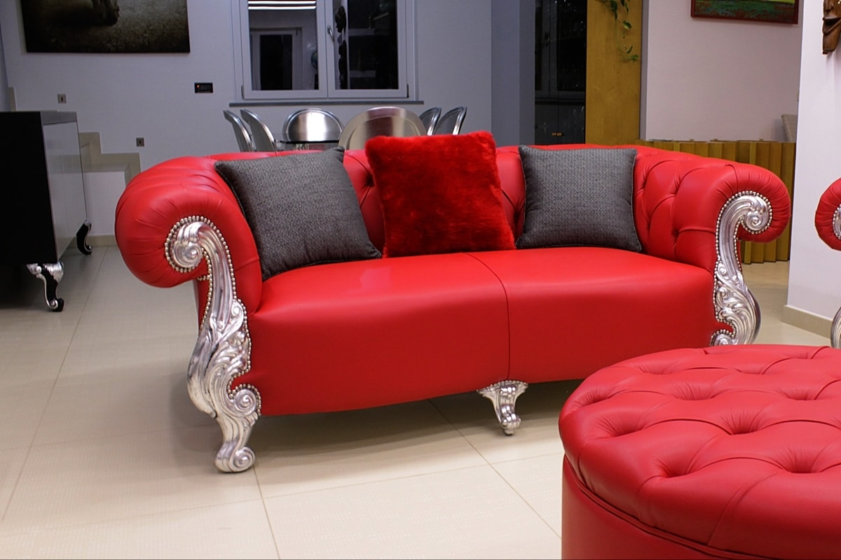 Oceano 2 seater in leather, Sofa with backrest in red velvet, leather seat