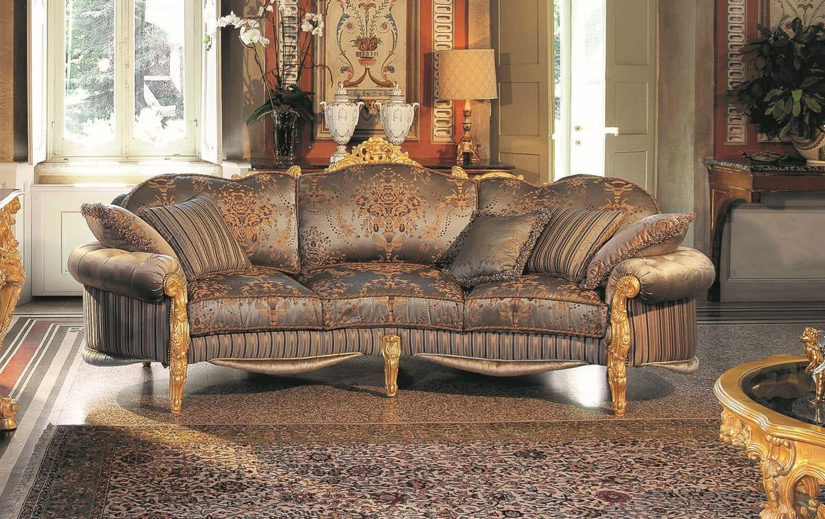 Opera 3-seater sofa, Elegant three seater sofa, hand carved, that offers unparalleled evocative refinement