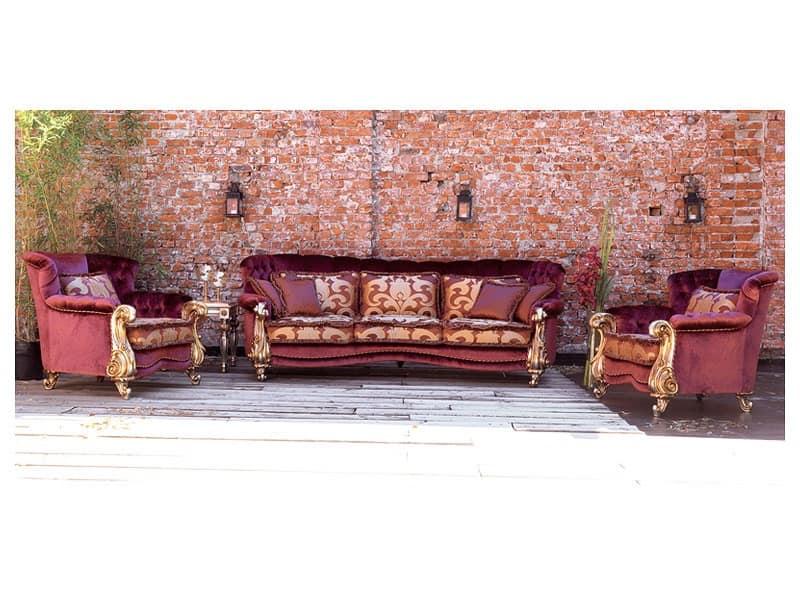 Orchidea, Sofa classic luxury, gold leaf finishes