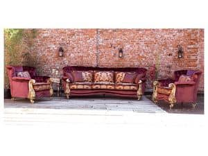 Orchidea, Sofa classic luxury, gold leaf finishes