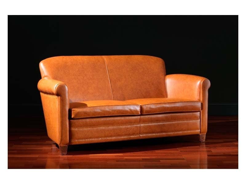 Ippolito Sofa, Leather sofa, 30s and 50s style