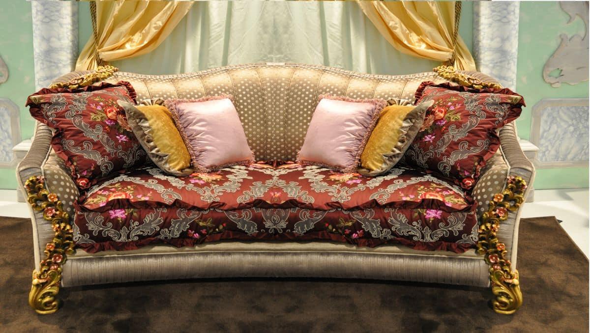 Primavera 2-seater sofa, Classic hand-carved sofa, for elegant lounges