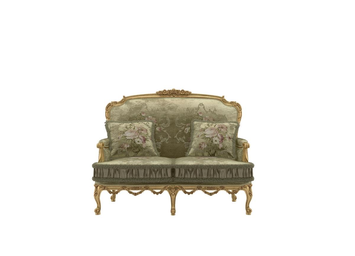 Principessa sofa, Carved sofa, gold leaf finish