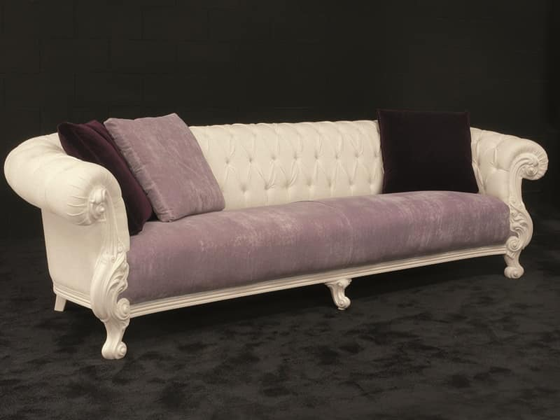 Large sofa, new baroque style, white lacquered | IDFdesign