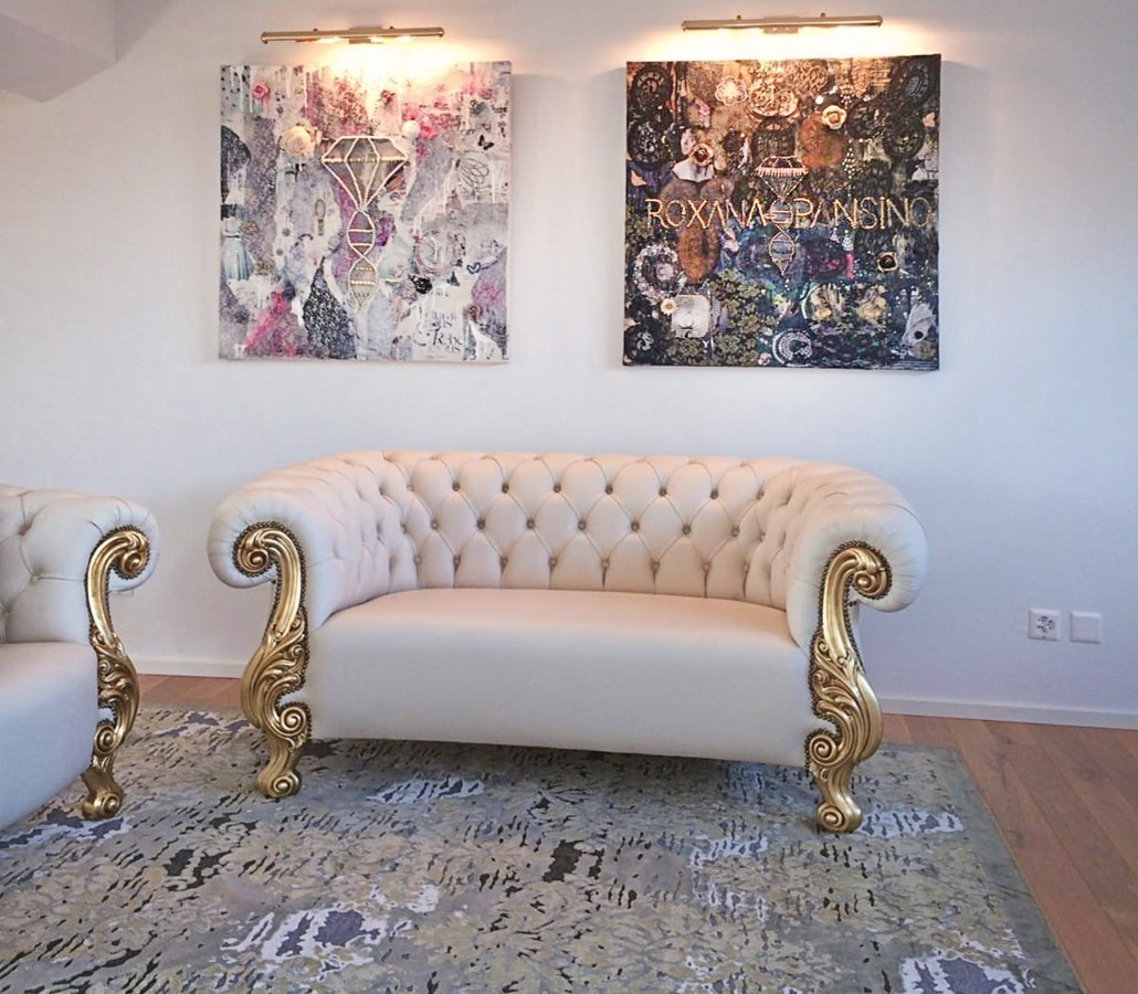 Queen leather white, New baroque leather sofa