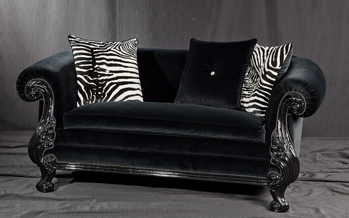 Queen black fabric, New Baroque style sofa, in carved black lacquered wood