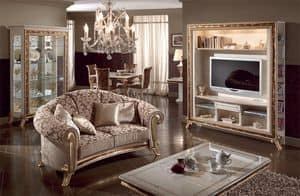 Raffaello sofa, Upholstered classic luxury sofa, gold decorations
