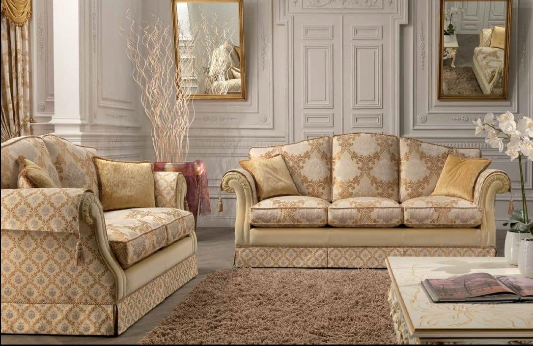 Royal, 2 seater sofa for living rooms, classic, with steel springs