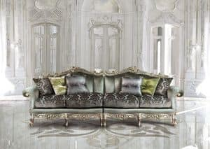 Saint Germain Due, 4-seat sofa in luxury classic style, hand carved