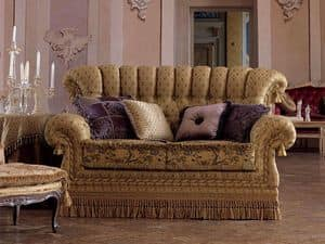 Sara, 2 seater sofa in classic style, quilted, for living room