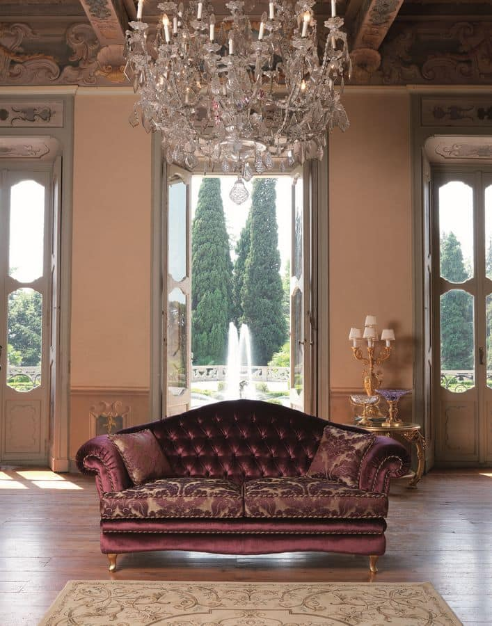 Segesta, Sofa with buttoned back suited for living rooms