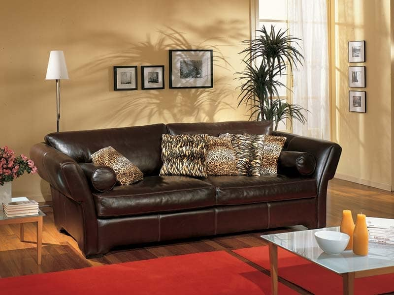Shine Sofa, Sofa upholstered in brown leather, for sitting room
