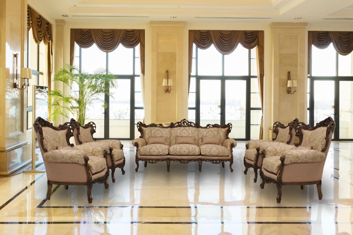 Stradivari walnut, 3 seater sofa ideal for luxury villas