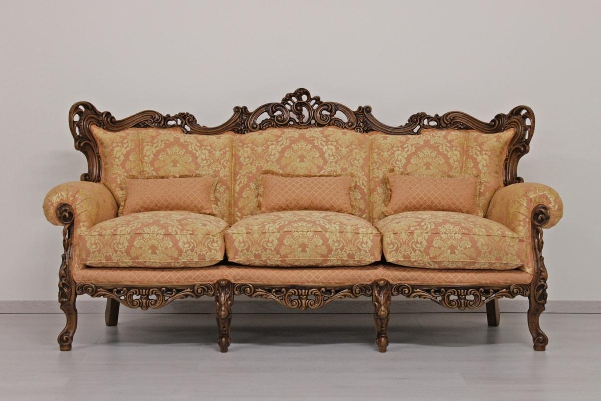 Stradivari 3-seater, Luxury sofa hand carved