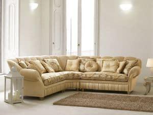 Teseo corner, Corner sofa in luxury classic style, curvy shape