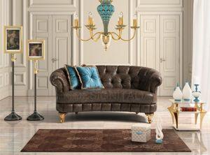 Titano, Curved leather sofa